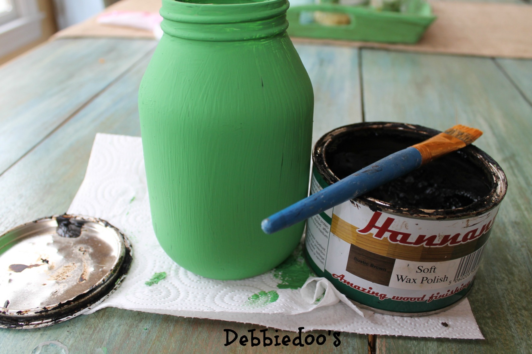 Upcycled jar painted and stenciled 008