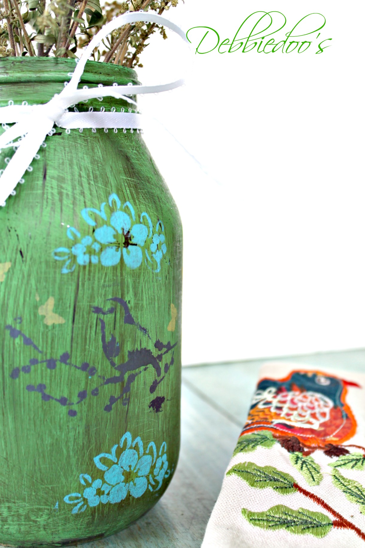 Upcycled jar painted and stenciled 028