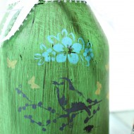 Upcycled jar painted and stenciled 032