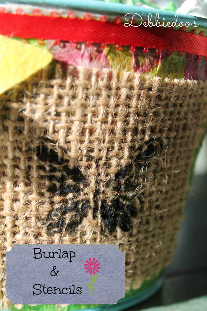burlap and stencil embellishments