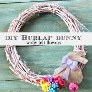 Diy burlap bunny on a Spring wreath