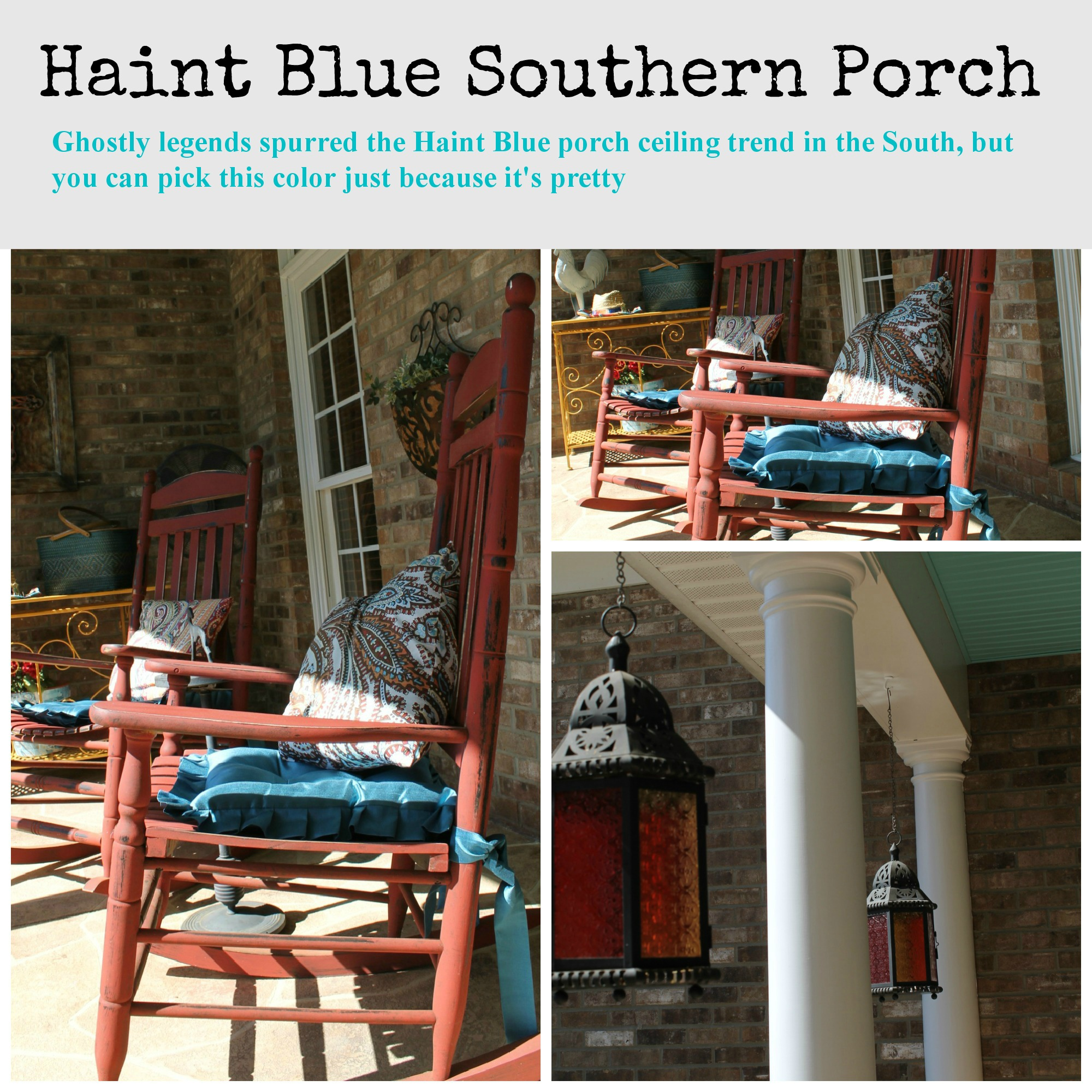 Southern porch painted Haint blue - Debbiedoos