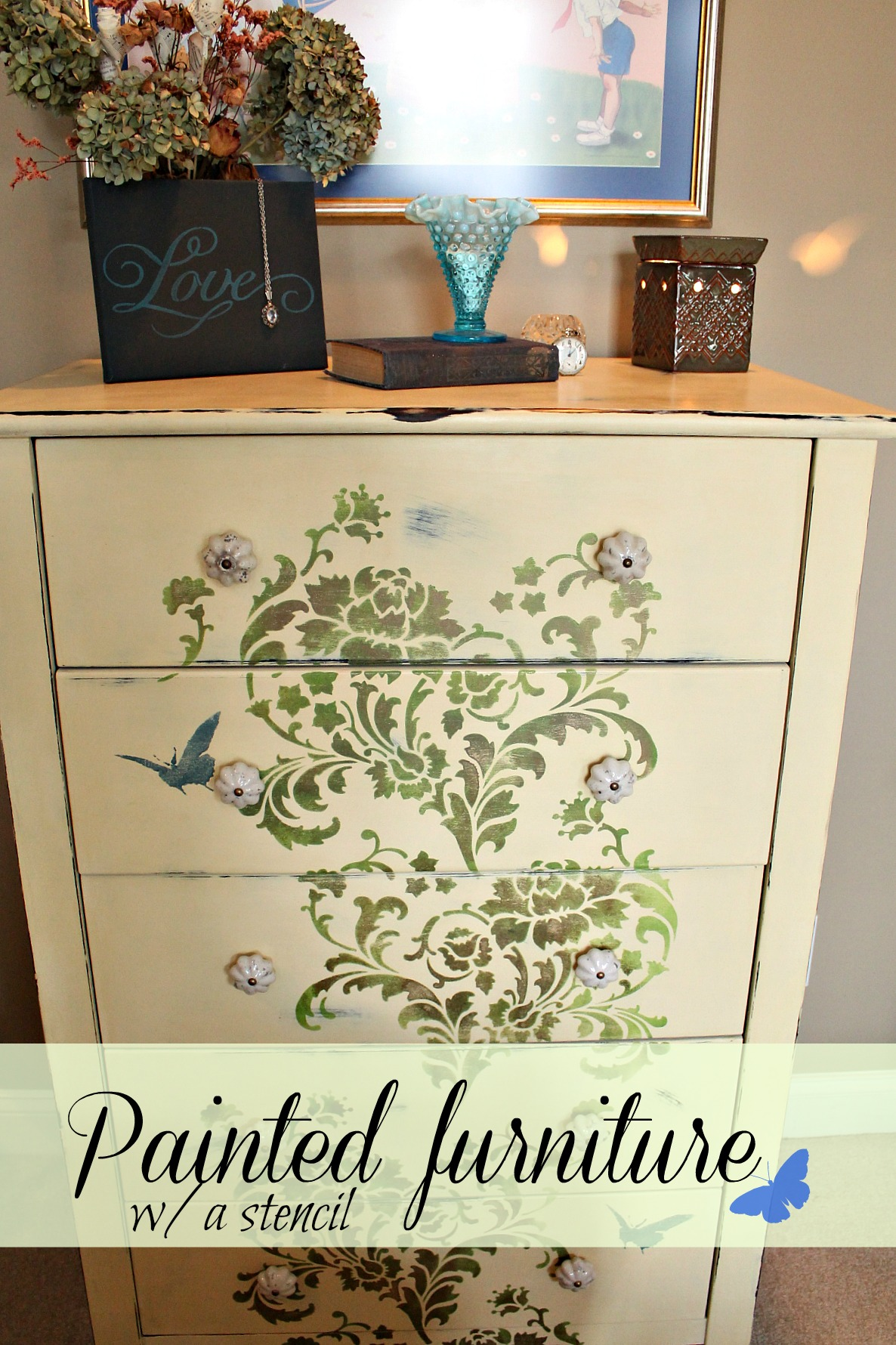 painted furniture with a stencil