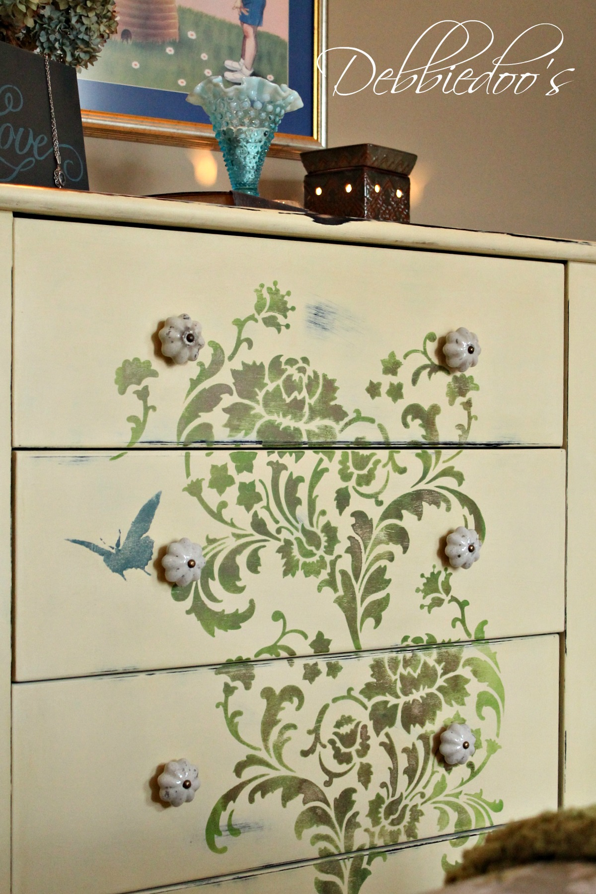 Painted stencil furniture trend home design and decor - Paint stencils for furniture ...