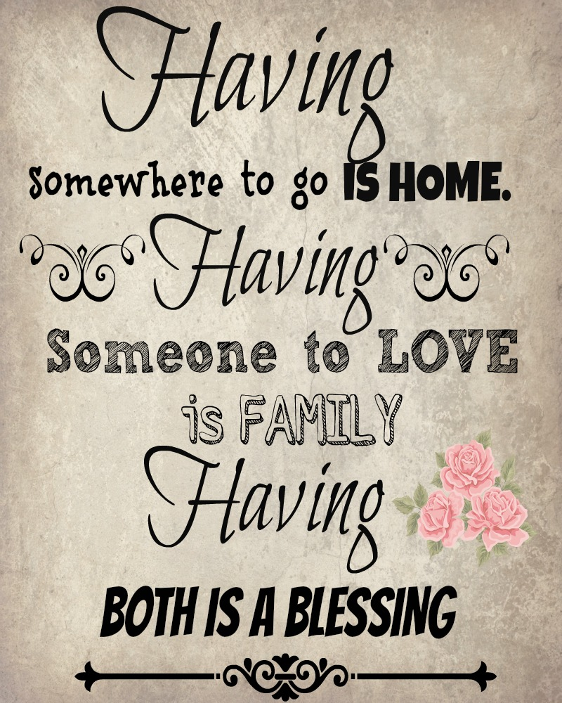 vintage family and home quote