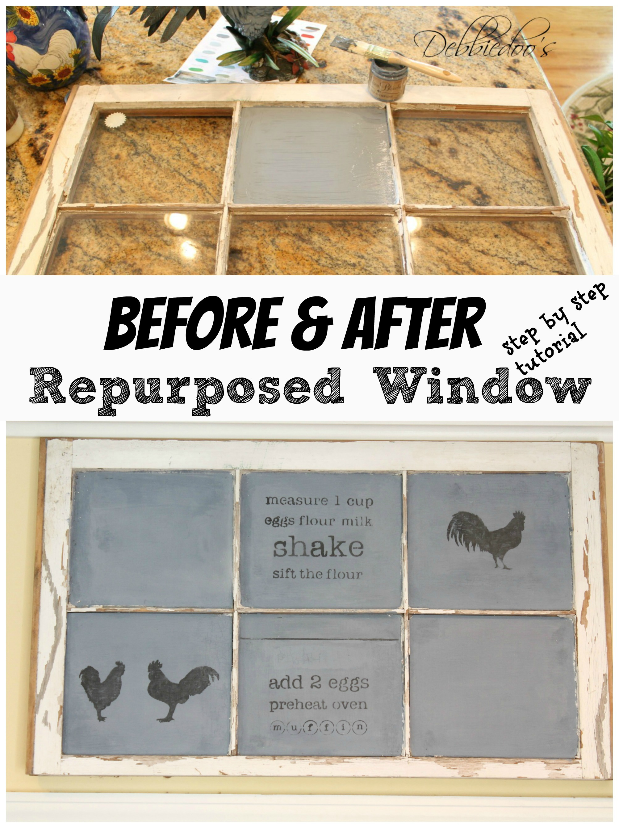 Diy-repurposed-window-to-chalkboard How to make an old window into a chalkboard work of art