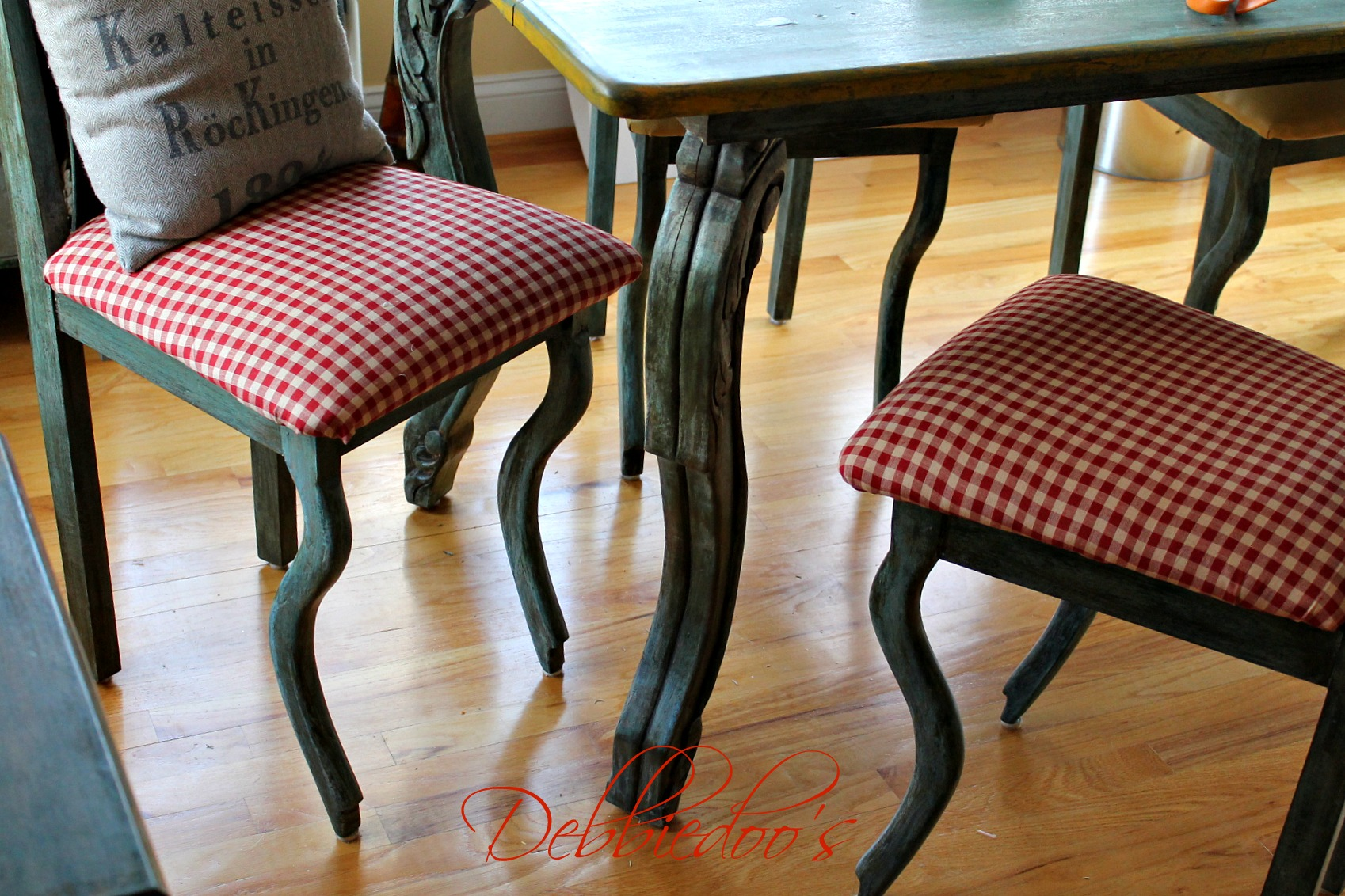 Gingham chairs reupholstered