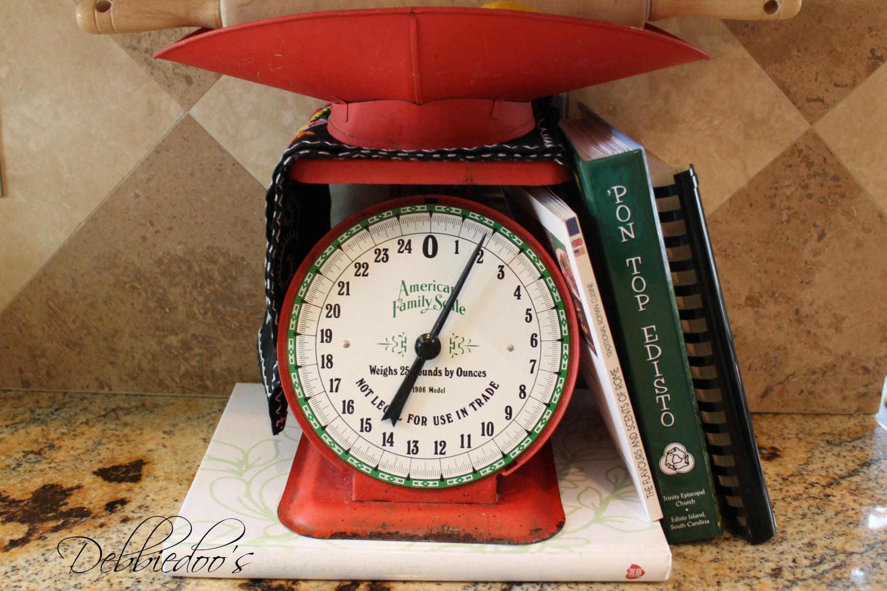 Red kitchen vintage scale