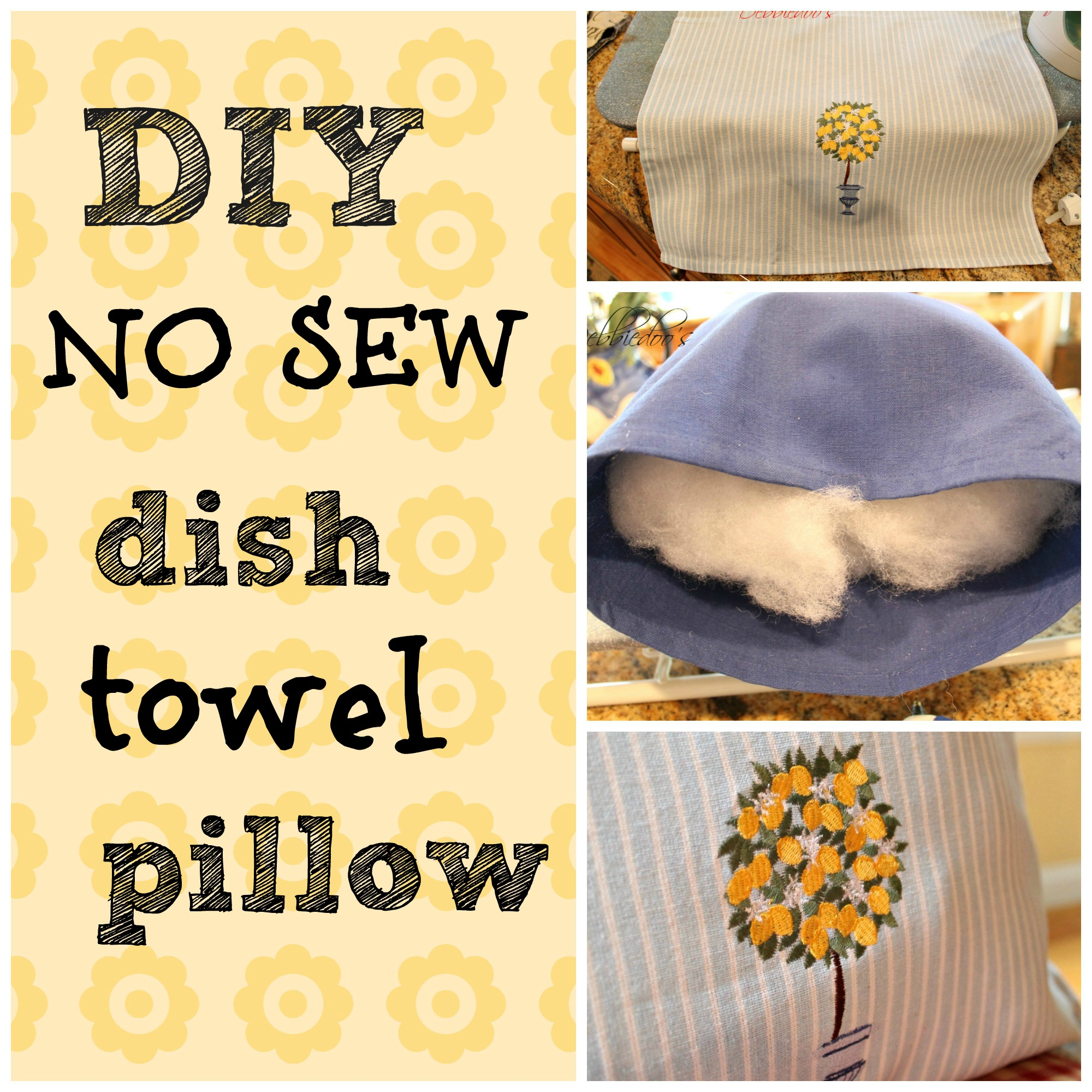 How to make a dish towel pillow for $2 00 - Debbiedoos