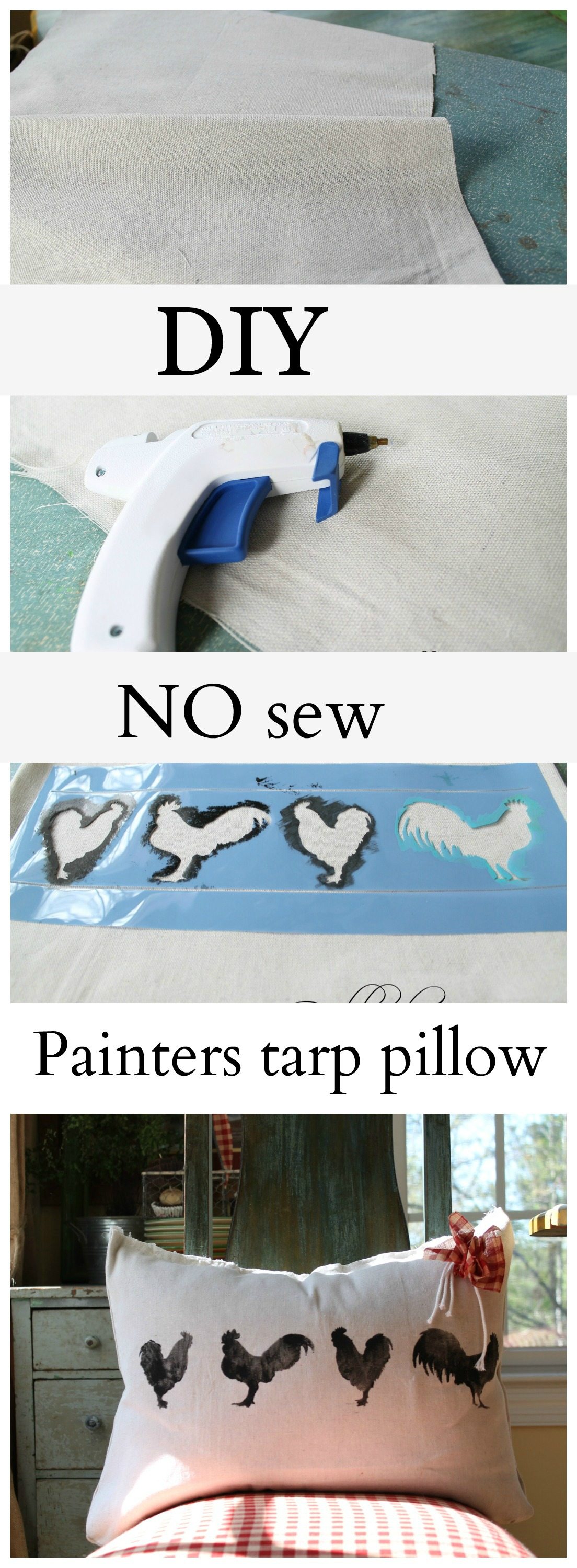 Diy Cute Pillow No Sew : How to make a no sew pillow out of painters tarps - Debbiedoos