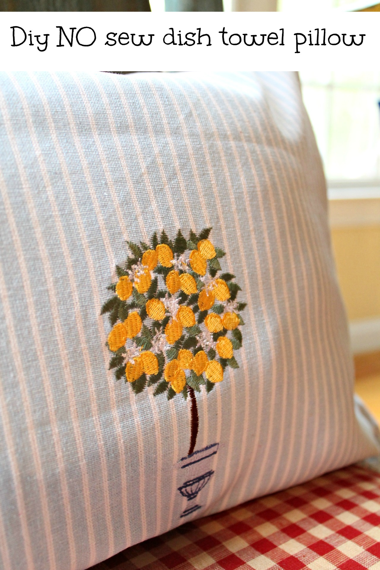 how to make a dish towel pillow