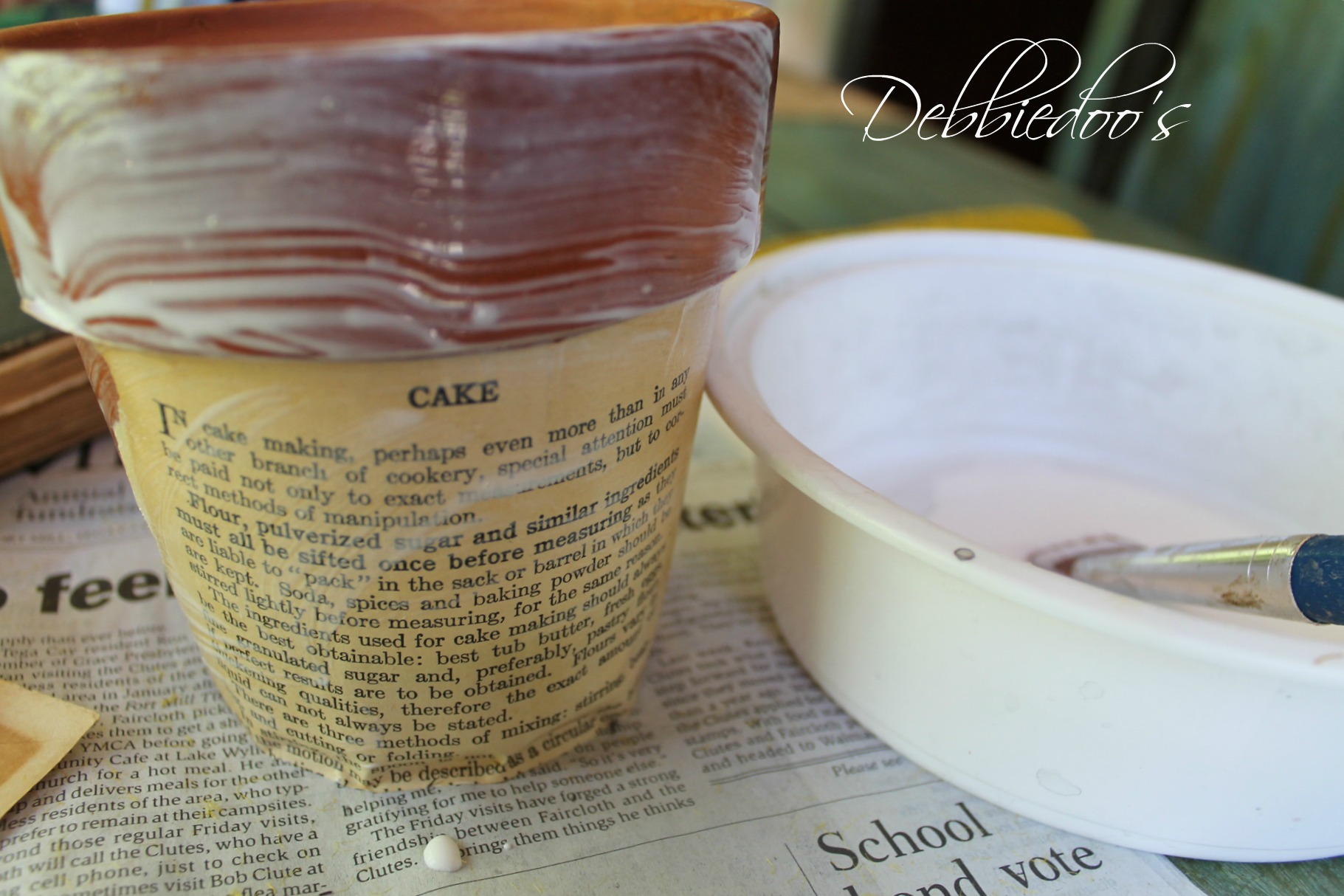 mod podge  terra cotta pot