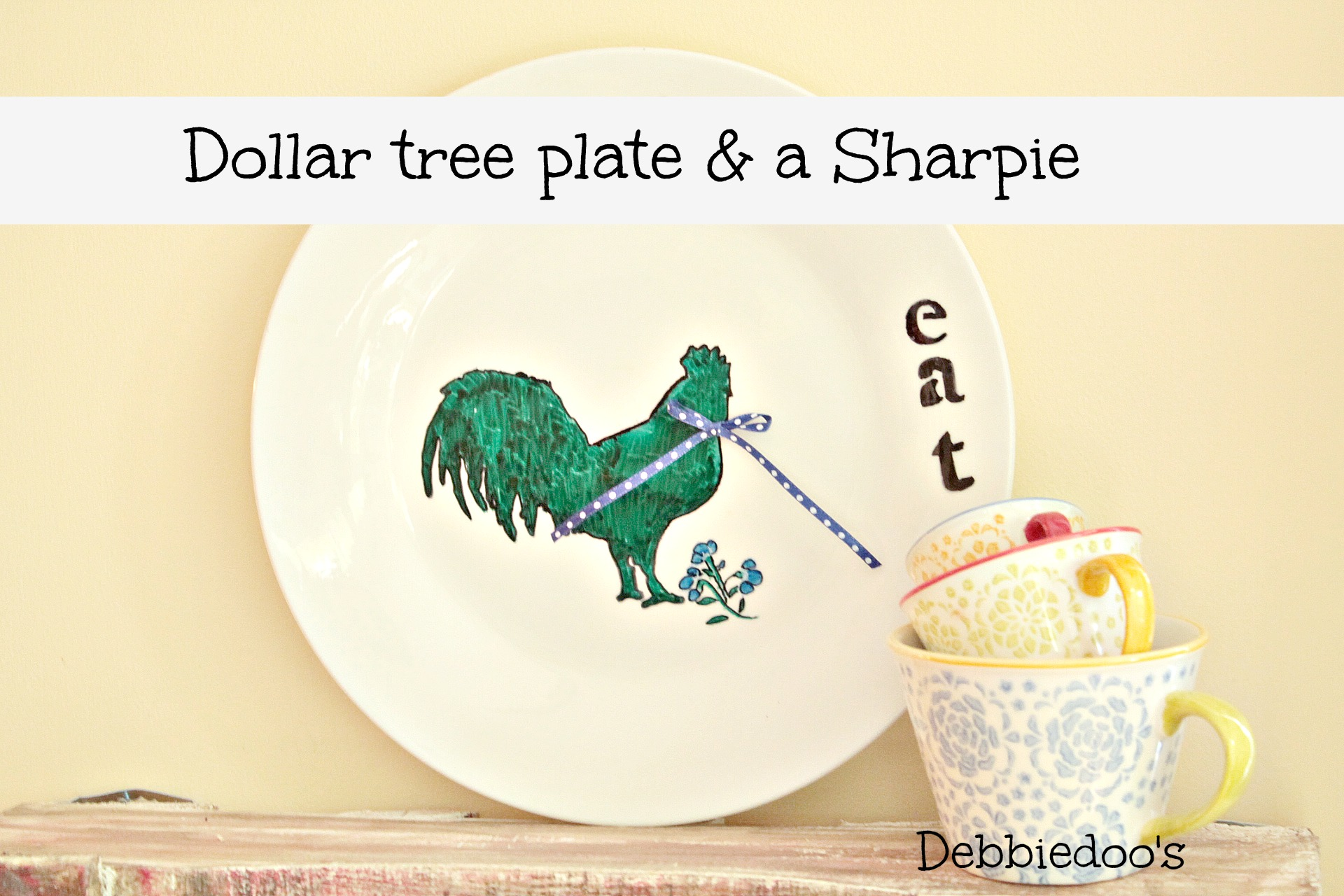 Dollar tree plate with sharpie a rooster and time to eat