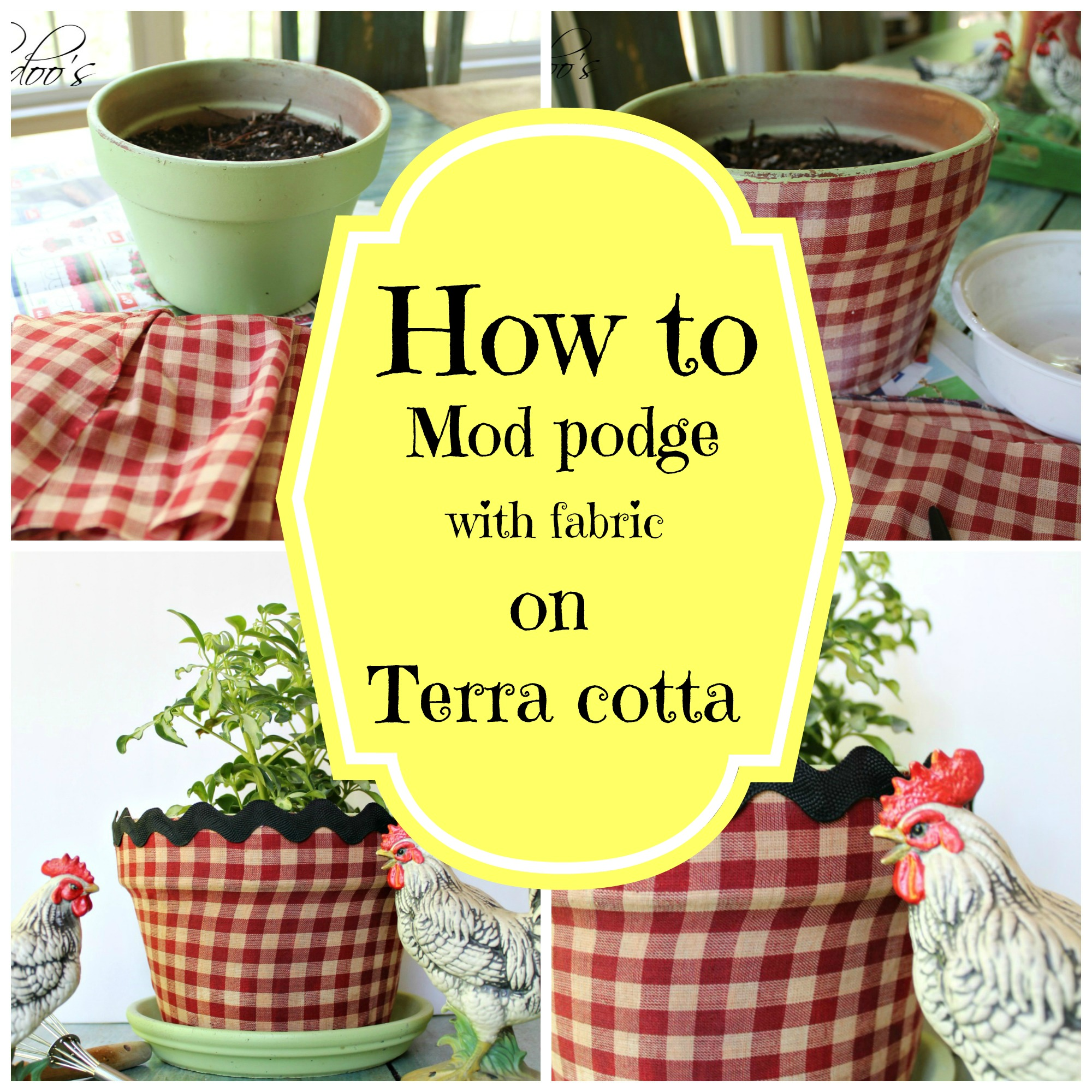 How to mod podge a terra cotta pot with fabric - Debbiedoo's