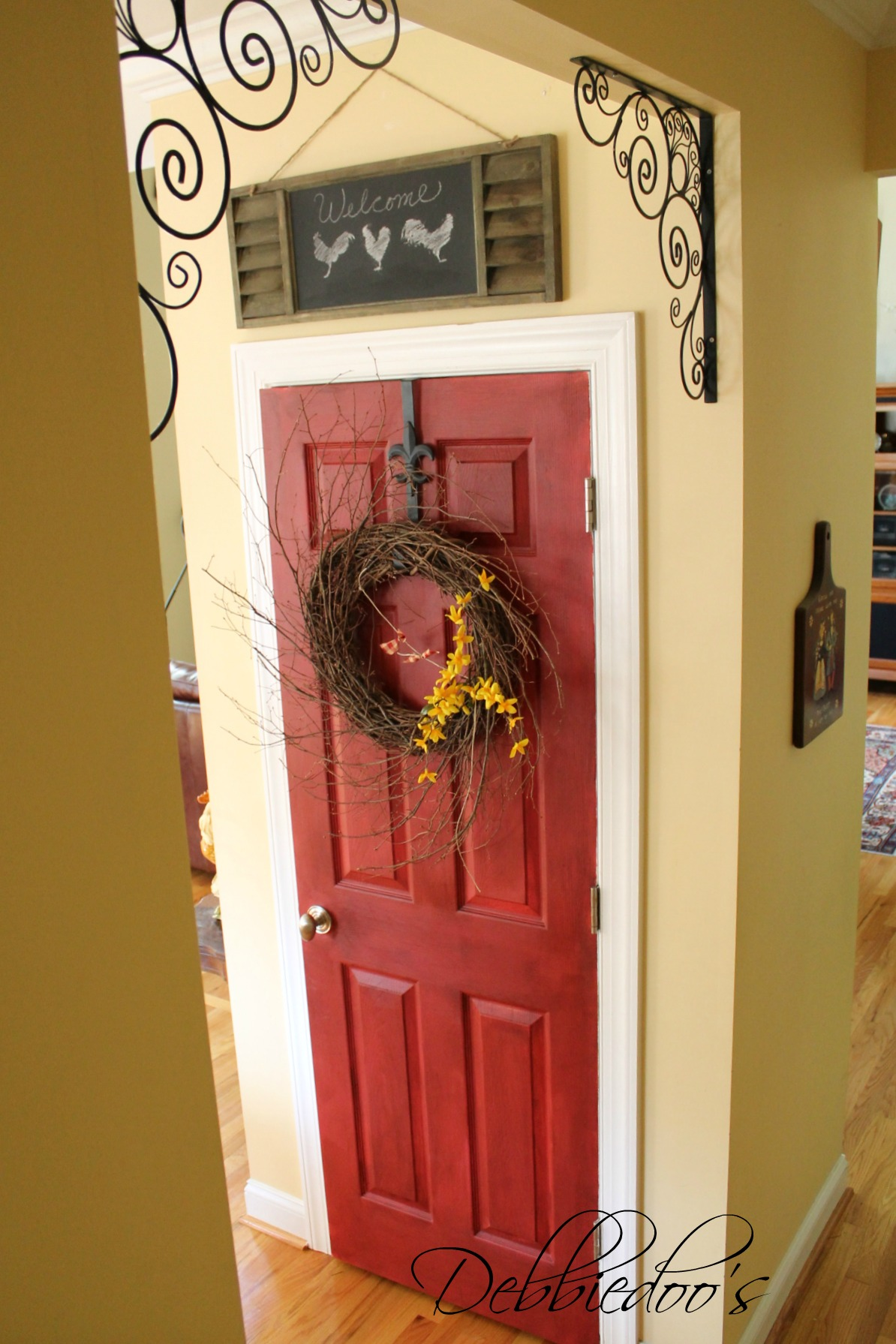 How To Paint Your Pantry Door Red Debbiedoos