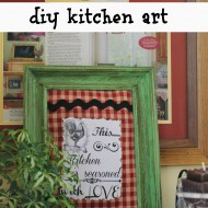 Diy kitchen art with Fabric scraps and a printable