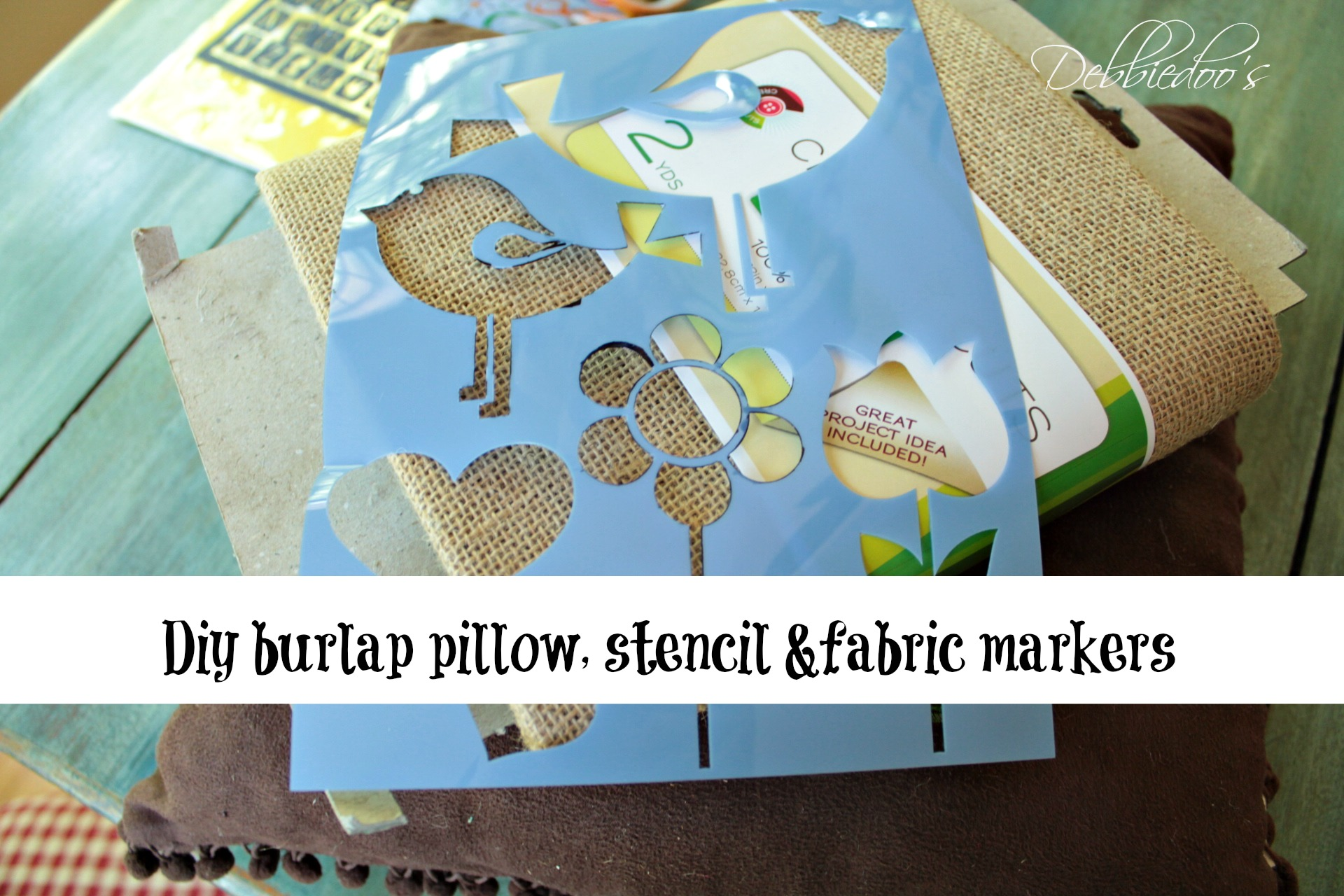 This cute little stencil was calling my name. & Diy no sew burlap pillow stenciled with fabric markers - Debbiedoos pillowsntoast.com