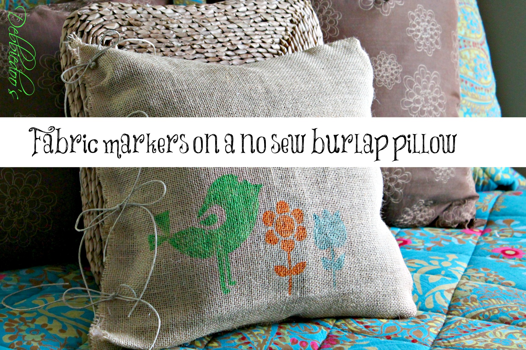 fabric markers on a diy no sew burlap pillow