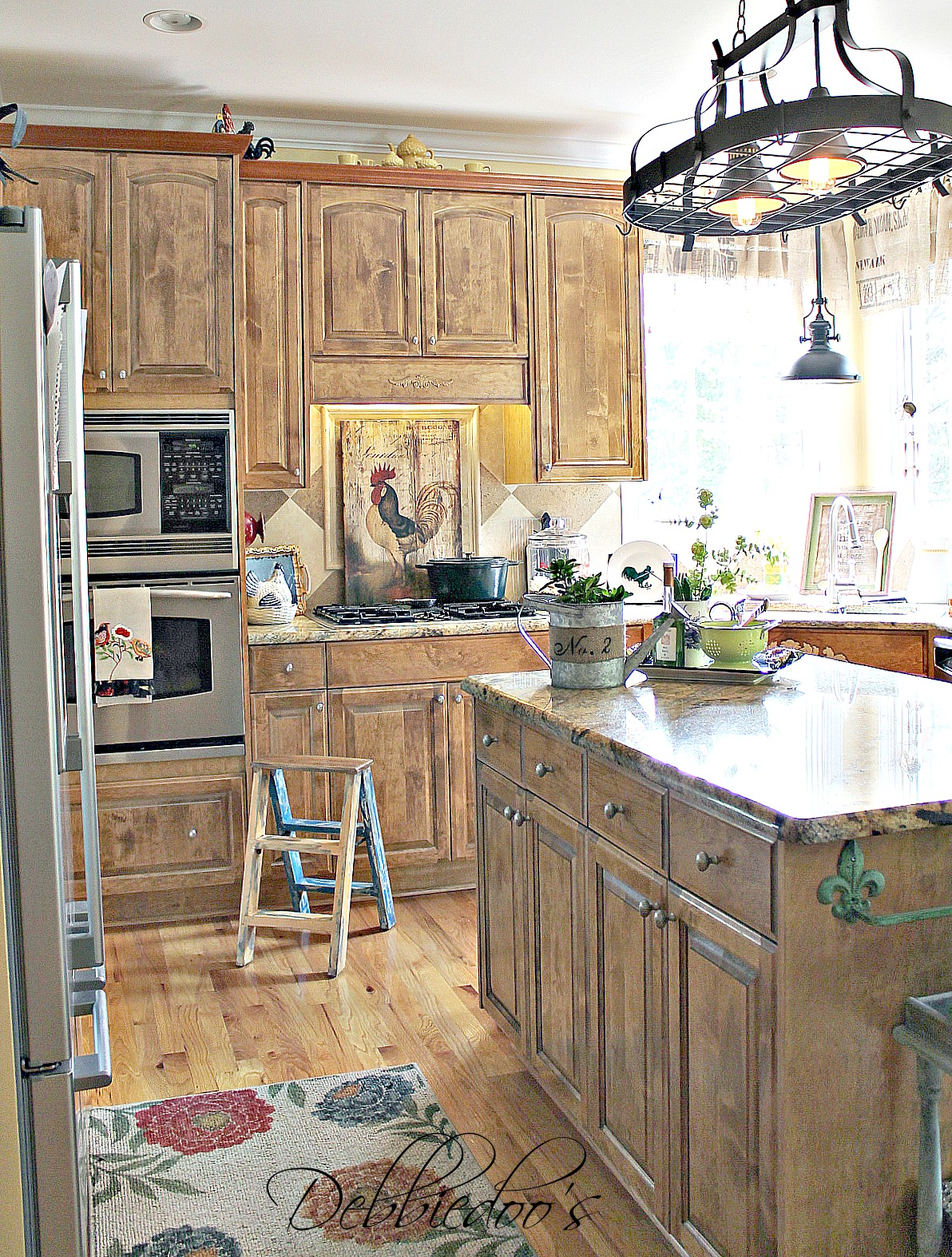 French country kitchen style freshened up debbiedoos - Country style kitchen cabinets ...