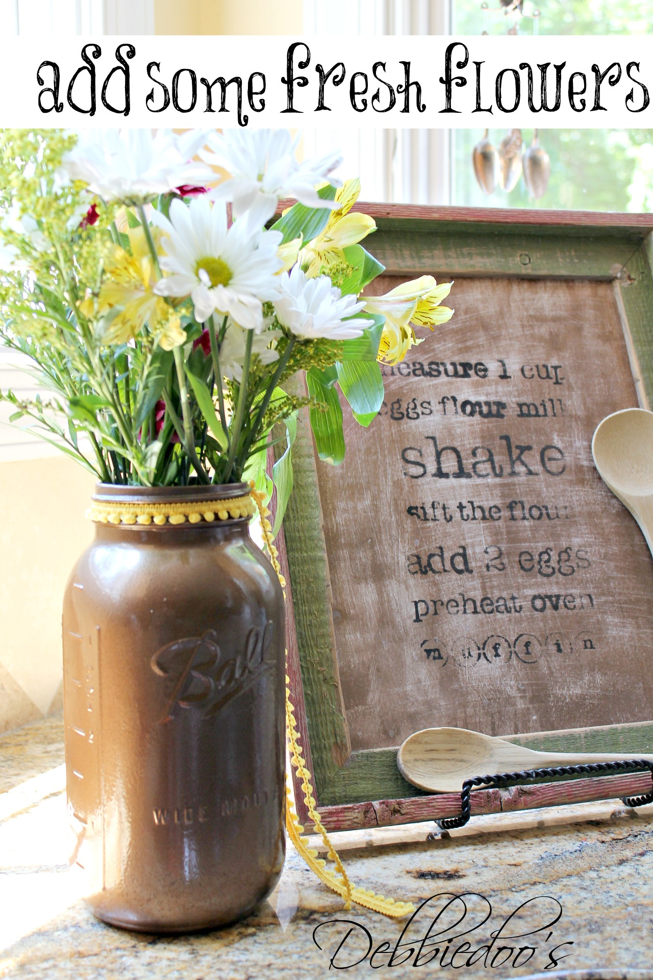 mason jar and fresh flowers