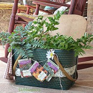 Repurposed vintage picnic basket