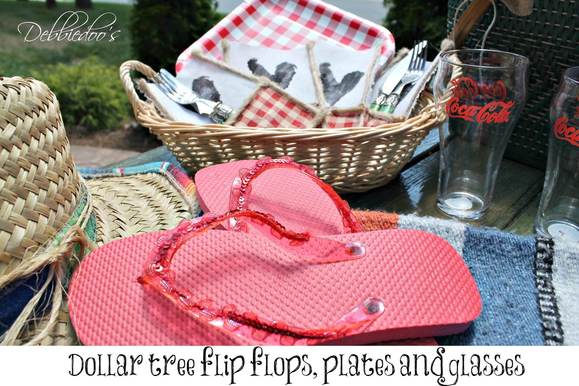 picnic on the patio with a repurposed vintage picnic basket and dollar tree flip flops, plates and glasses