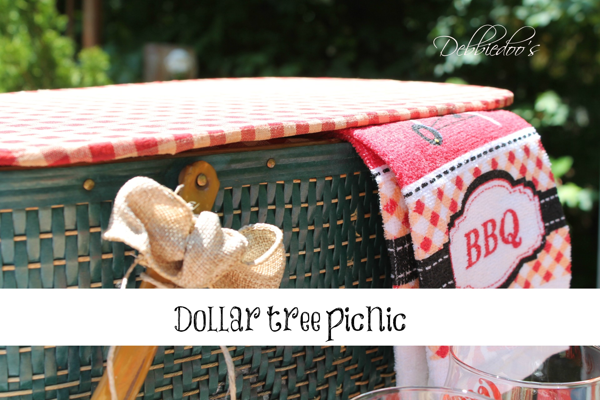 picnic on the patio with a repurposed vintage picnic basket and dollar tree