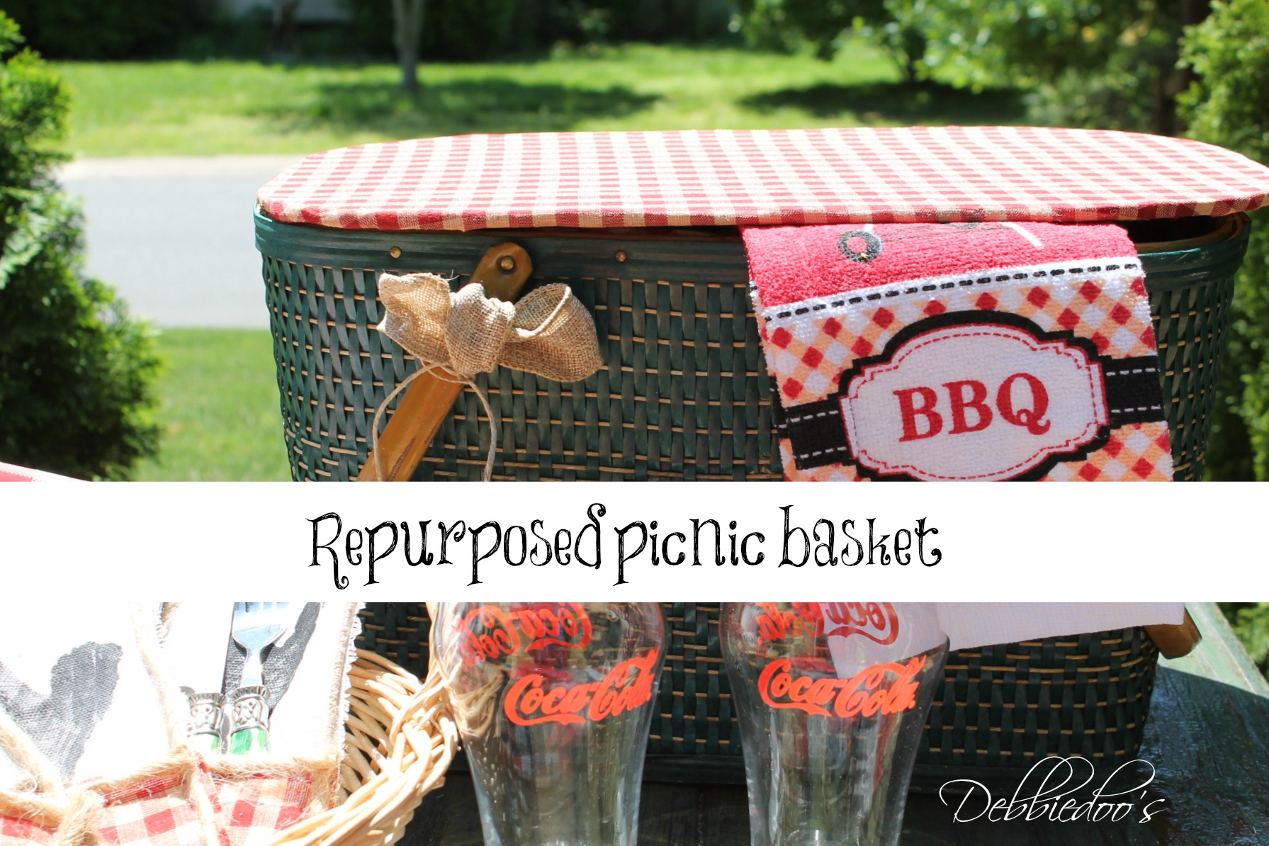 picnic on the patio with a repurposed vintage picnic basket