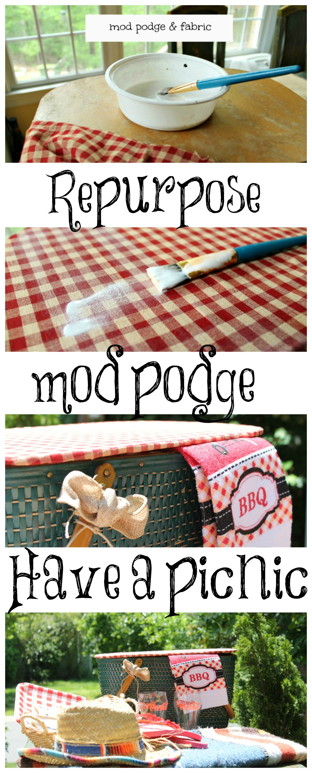 repurpose a vintage picnic basket