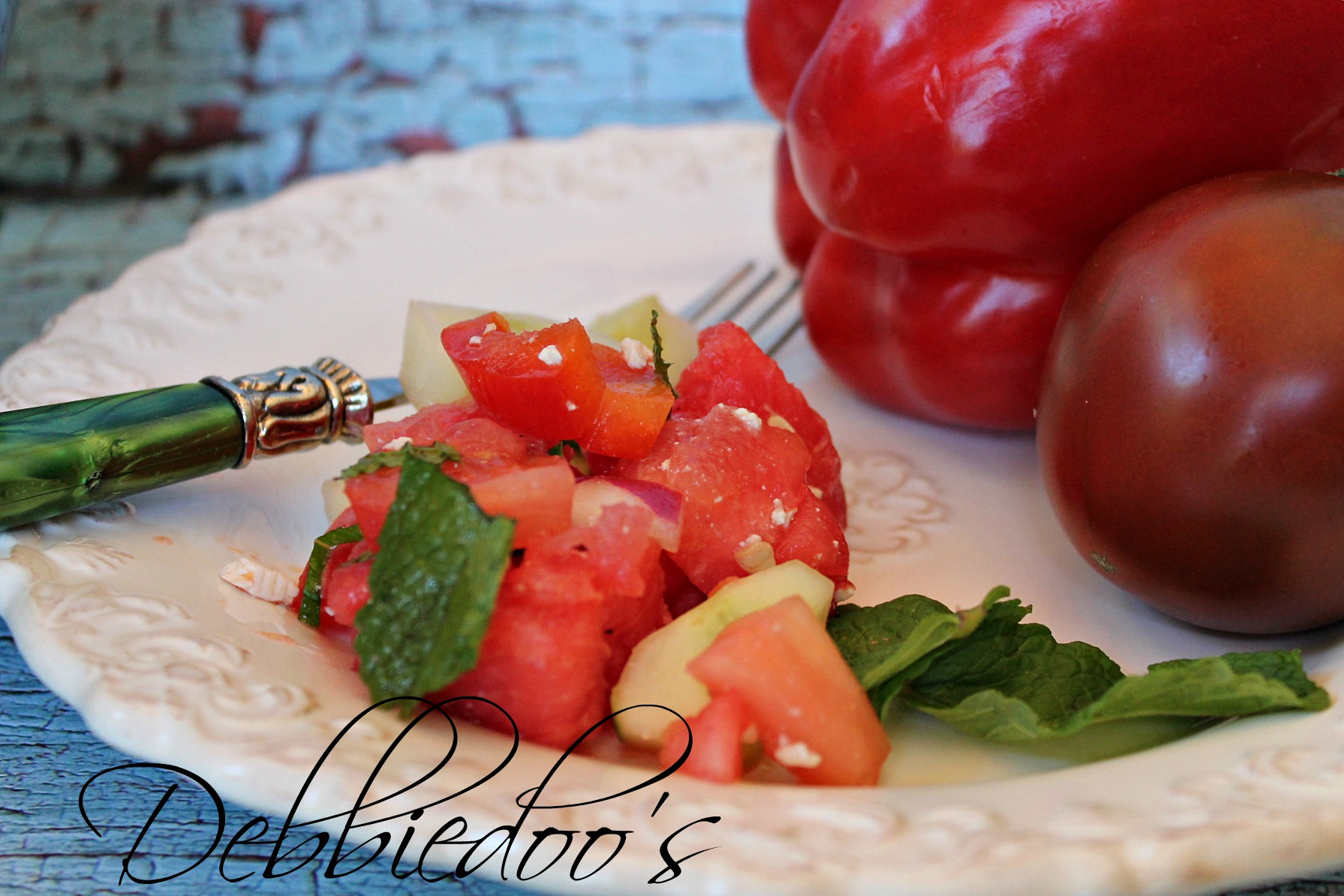 watermelon and tomato salad with feta cheese