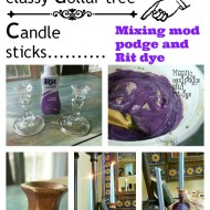 Dollar tree glass candles sticks painted with mod podge and purple rit dye classy and elegant looking