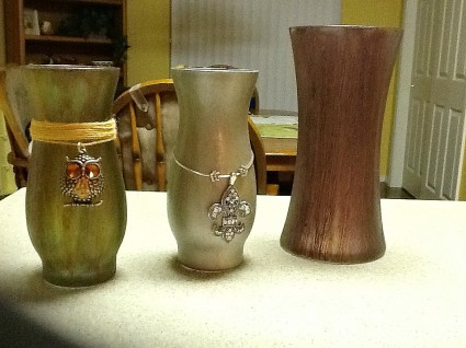 Mod podge and rit dye on glass vases