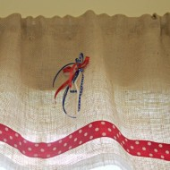 burlap no sew valance for the bathroom 007