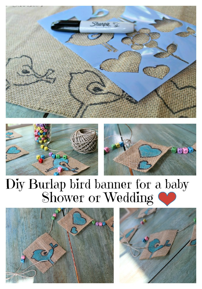 diy burlap bird banner for a baby shower