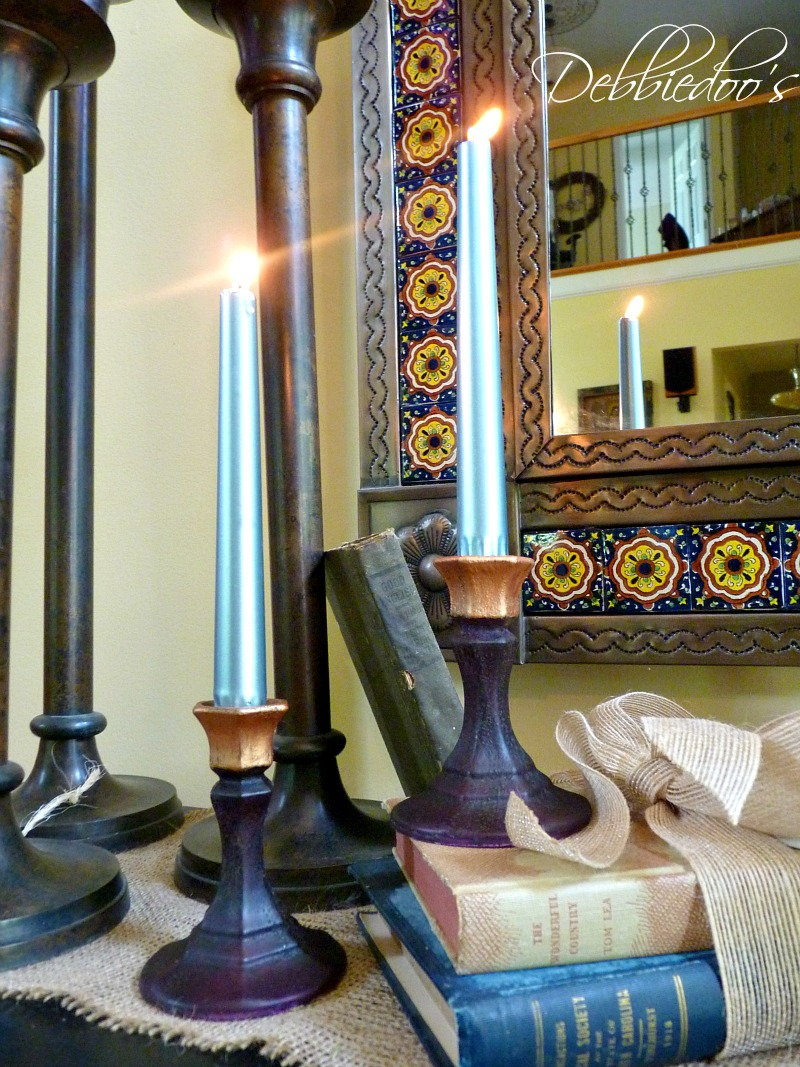 dollar tree candle sticks painted with rit and mod podge 008