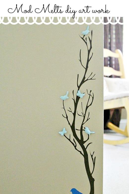new Mod melts diy art work on vinyl wall tree
