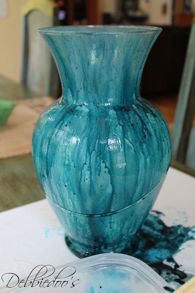Coastal-rit-dye-vase-1st-coat How to make a coastal decorative vase with Mod podge and Rit dye