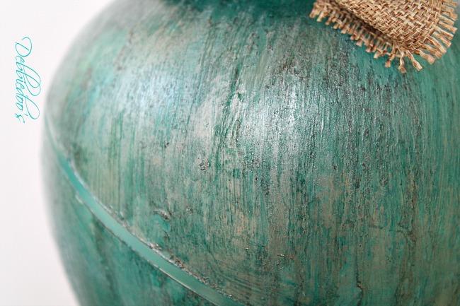 Coastal rit dye vase close up of texture