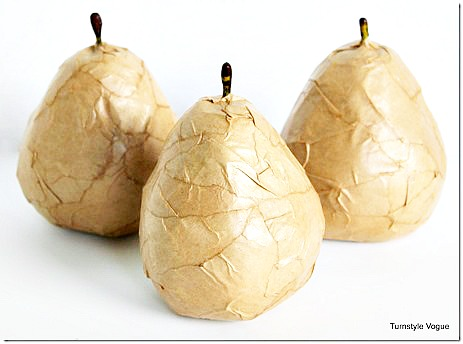 Plastic-Pears-Turned-Into-Modern-Styling-Accents-with-Kraft-Paper-and-Mod-Podge-www.turnstyle121