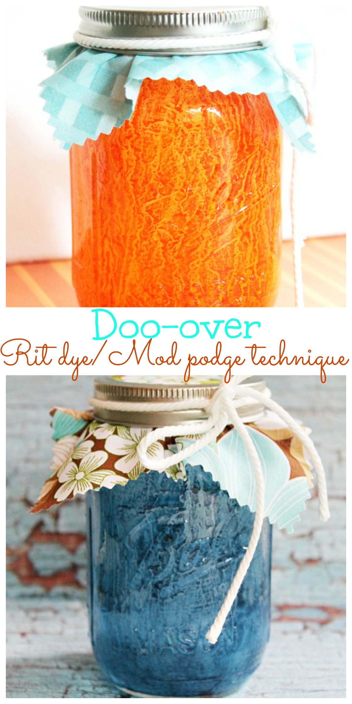 Rit dye Mod podge doo-over technique, how to paint glass