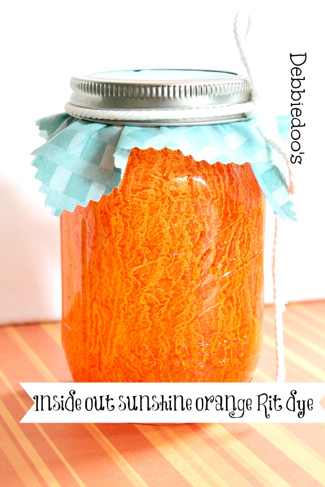 Rit dye and mod podge painted on mason jar in sunshine orange, inside out technique