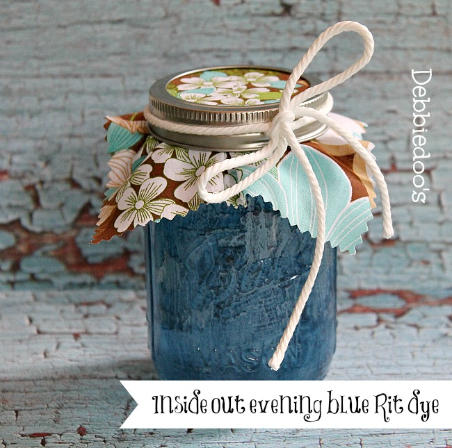 Rit dye on mason jars painted evening blue inside out