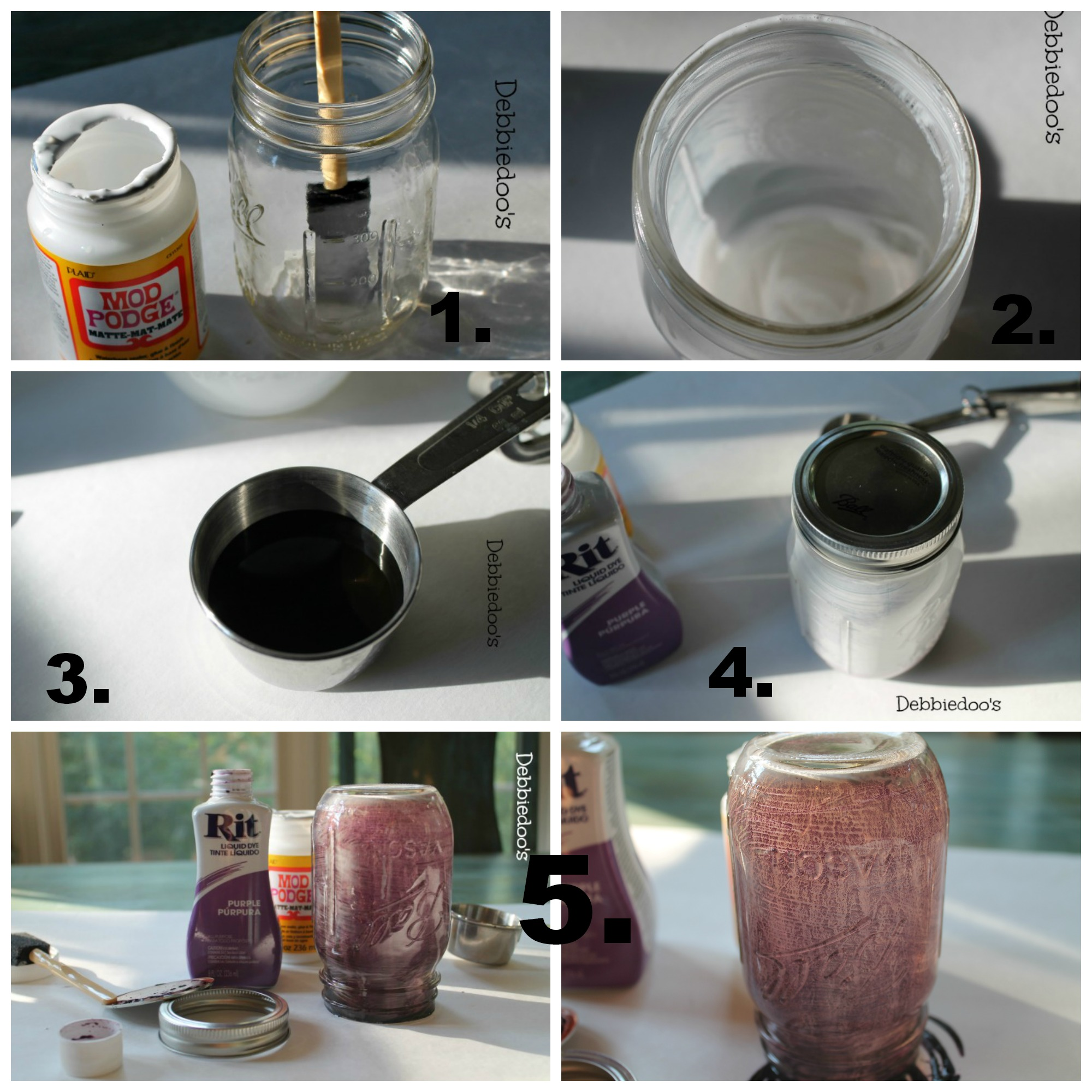 Step by step tutorial on how to inside out glass with rit dye and mod podge