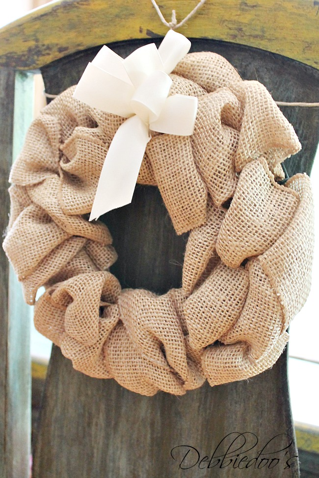 burlap chair wreath, pillow and r