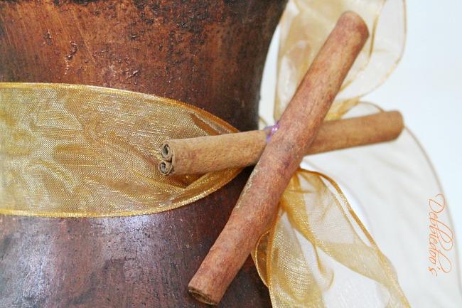 Autumn vase diy embellished with cinnamon sticks