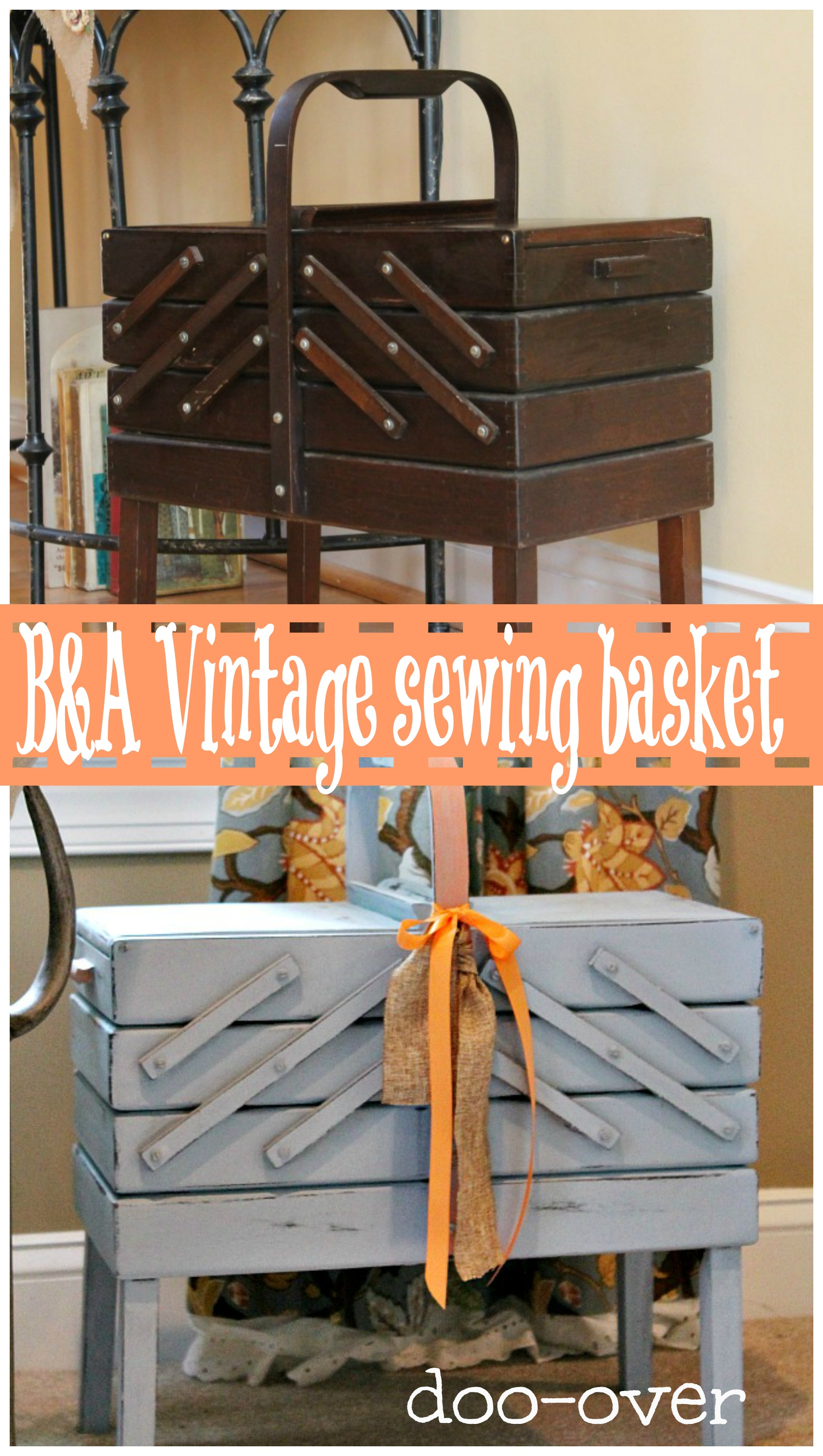 Before and after vintage sewing basket