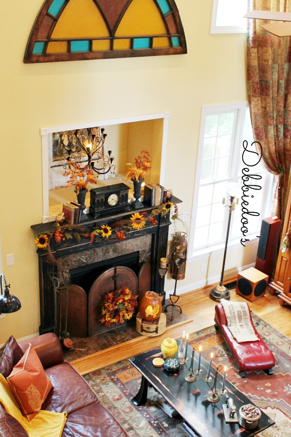 Fall mantel 2013 in family room