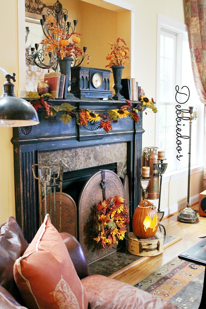 Fall mantel decor 2013