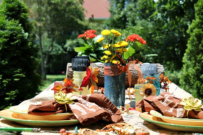 Fall tablescape with rit dye