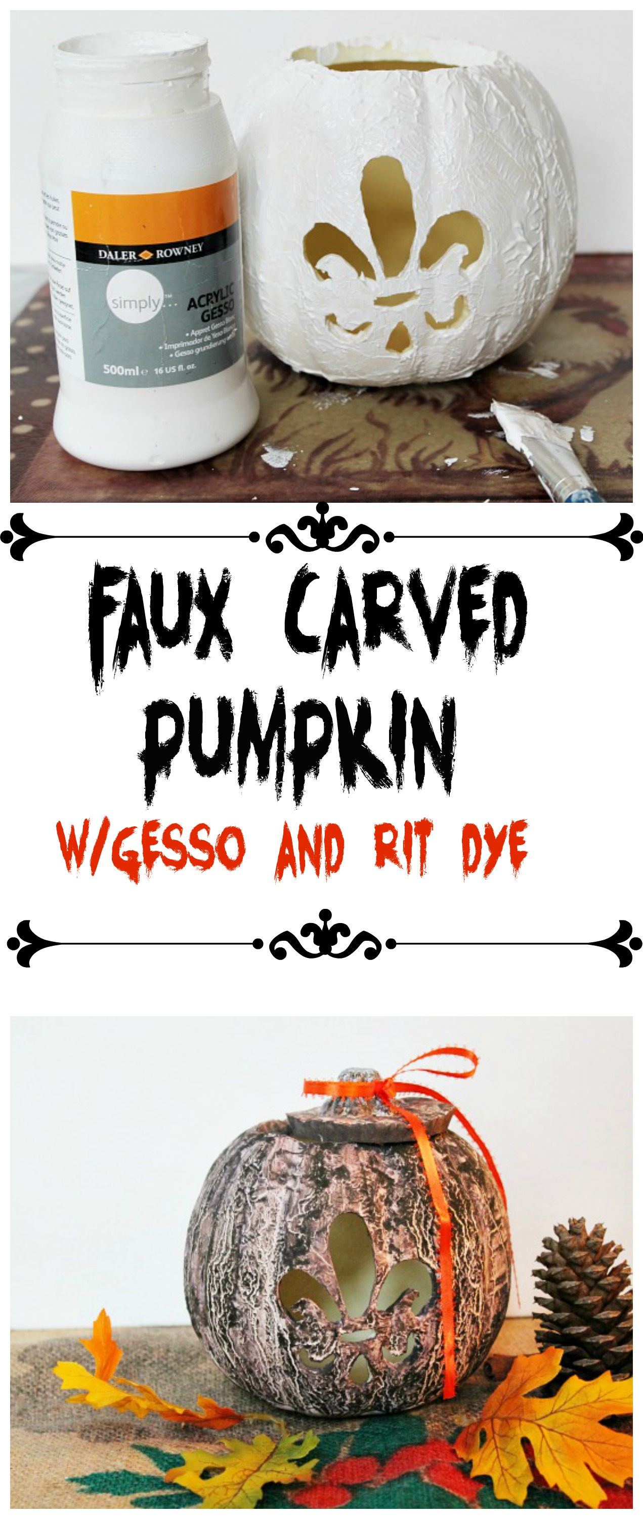 Faux carved pumpkin with gesso and rit dye